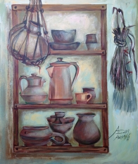 26. Still Life with Pots. Acrylic on canvas,100x80 cm, 2014