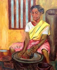 28. Grinding Masala.  Acrylic on canvas,70x60 cm, 2014