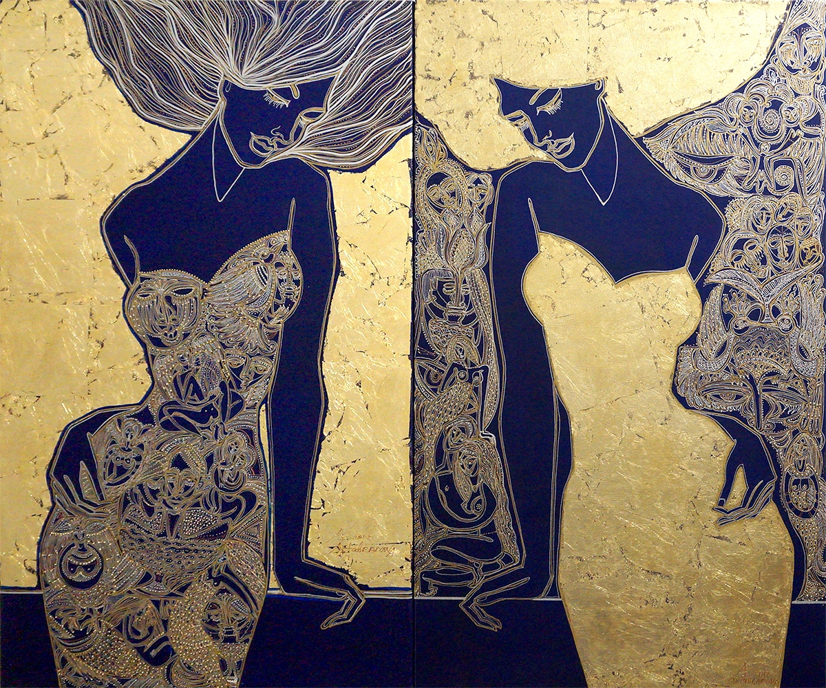 Anticipation in Gold. Diptych