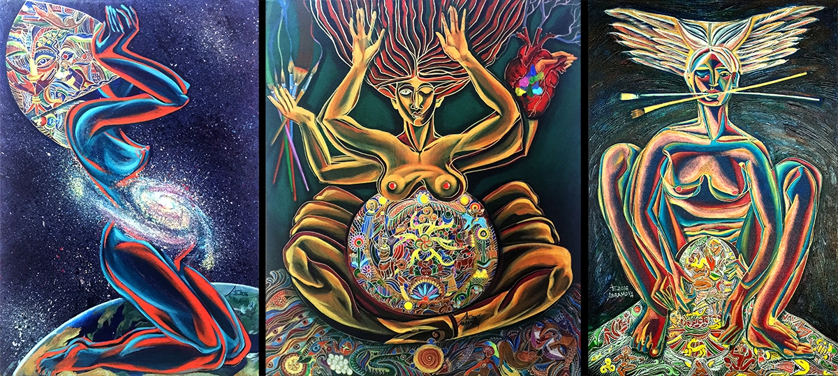 Triptych Genesis.  Left to Right:  The Goddess Inhales — Giving Up To God — The Goddess Exhales